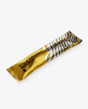 Matte Metallic Stick Sachet Mockup - Halfside View (High-Angle Shot)