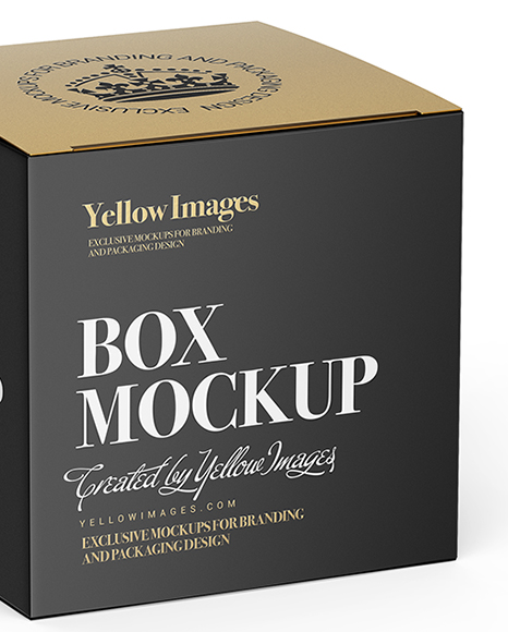 Download Box Mockup Half Side View High Angle Shot In Packaging Mockups On Yellow Images Object Mockups PSD Mockup Templates