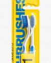 2pcs Toothbrush Blister Pack Mockup