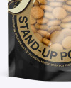 Stand Up Pouch With Dog Food Mockup - Front View