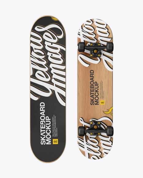 Skateboard Mockup - Front & Back View