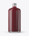 Clear Glass Bottle With Berry Juice Mockup