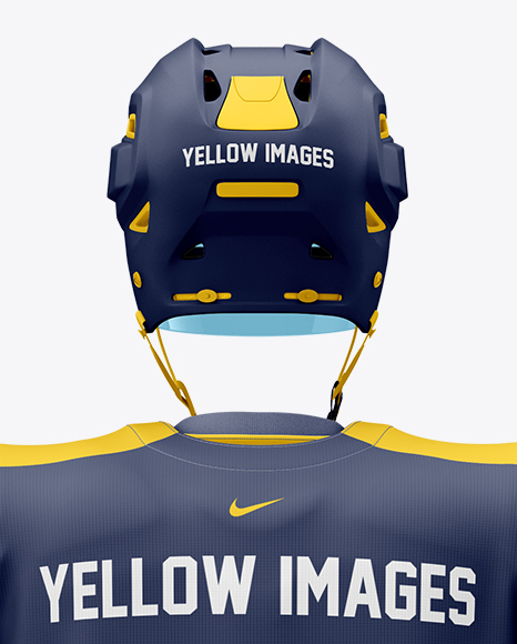Men's Full Ice Hockey Kit with Stick mockup (Back View)