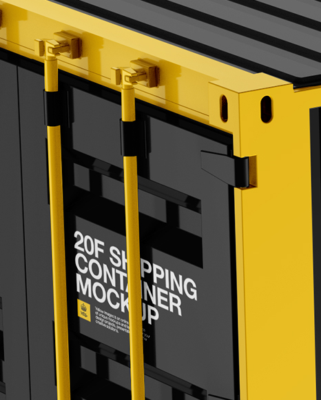 20F Shipping Container Mockup - Halfside View (High-Angle Shot)