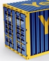 20F Metallic Shipping Container Mockup - Halfside View (High-Angle Shot)