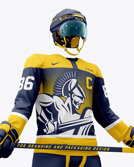 Men's Full Ice Hockey Kit with Stick mockup (Hero Shot)