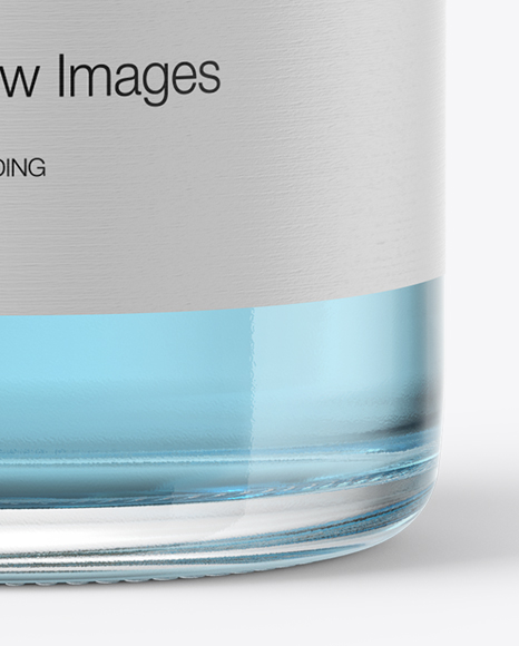 Clear Glass Bottle with Blue Liquid Mockup