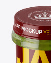 Glass Kiwi Jam Jar Mockup (High-Angle Shot)