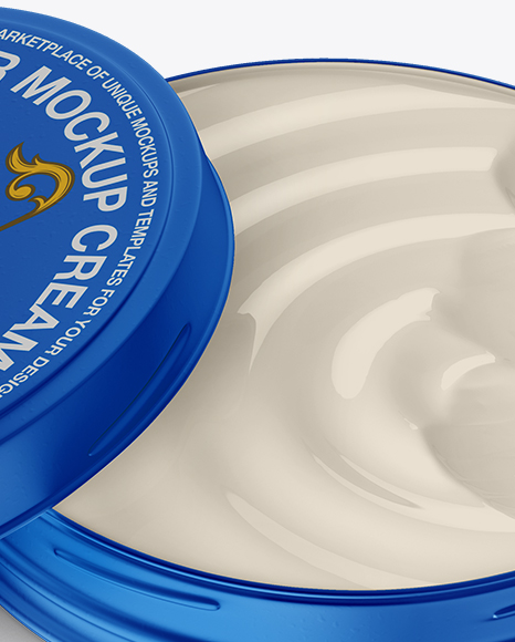 Open Matte Metallic Cosmetic Jar Mockup (High-Angle Shot)