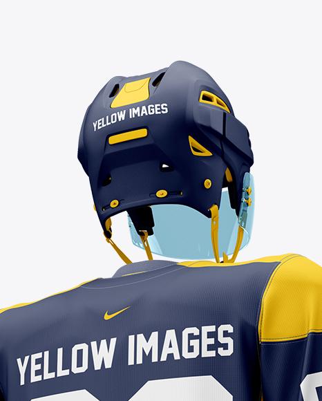 Men's Full Ice Hockey Kit with Stick mockup (Hero Back Shot)