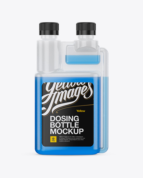 Plastic Dosing Bottle with Liquid Mockup - Front View
