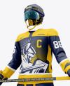 Men's Full Ice Hockey Kit with Stick mockup (Half Side View)