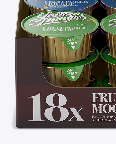 Download 18 Fruit Puree Cups Display Box Mockup Front View High Angle PSD - Free PSD Mockup Templates