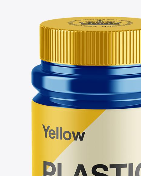 Glossy Metallic Pill Bottle Mockup (High-Angle Shot)