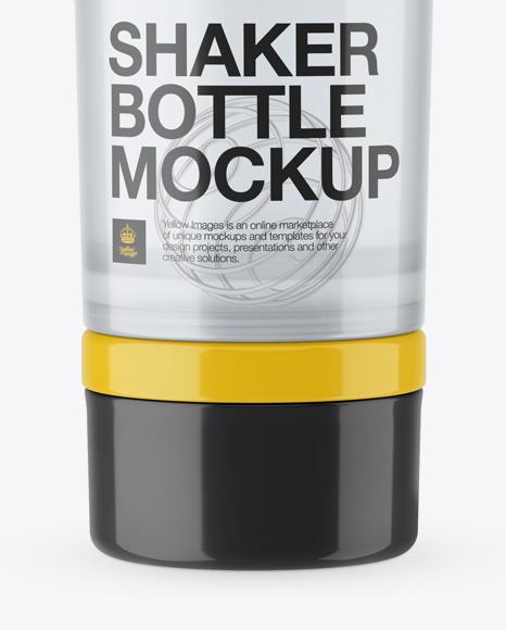 Transparent Shaker Bottle With Blender Ball Mockup In Bottle