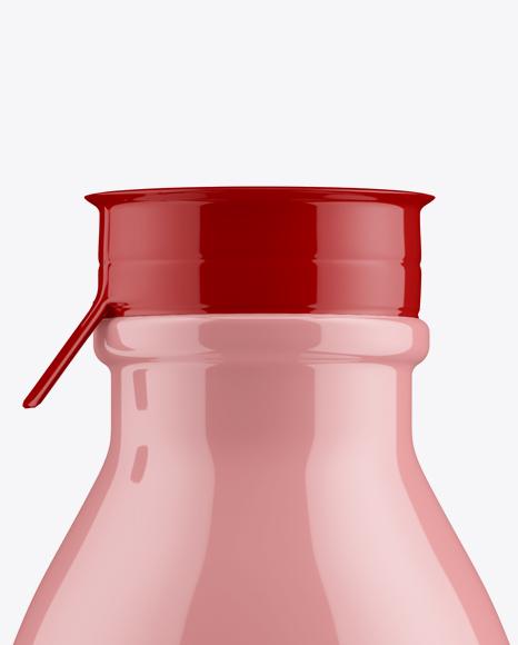 Glossy Medium Plastic Dairy Bottle Mockup - Front View