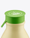 Matte Medium Plastic Dairy Bottle Mockup (High-Angle Shot)