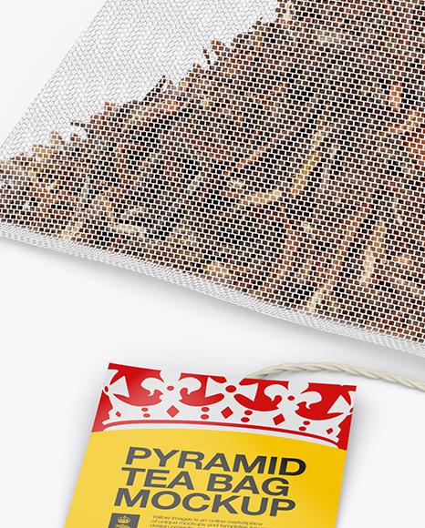 Pyramid Tea Bag Mockup - Halfside View