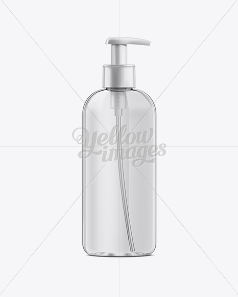 bda1744fa781 Clear Plastic Boston Round Bottle w/ Lotion Pump Mockup in Bottle ...