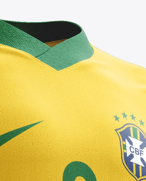 Football Kit with V-Neck T-Shirt Mockup / Half-Turned View