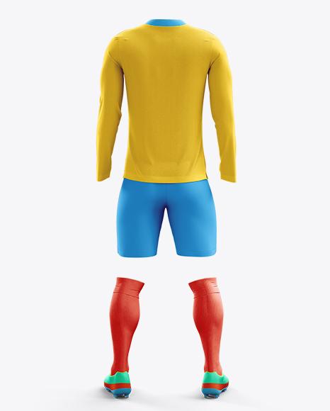 Football Kit with V-Neck Long Sleeve Mockup / Back View