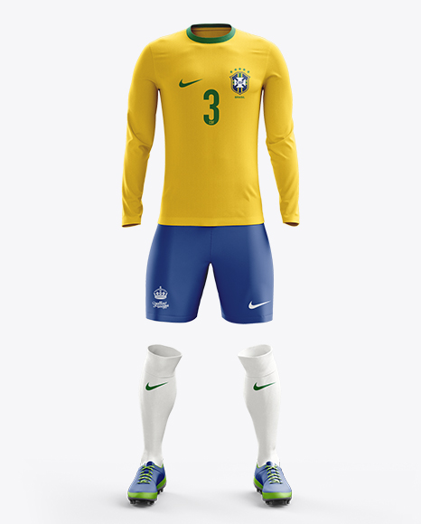 Soccer Kit with Long Sleeve Mockup / Front View