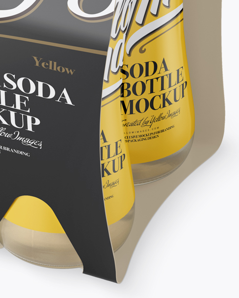 4 Pack Soda Bottle Mockup - Halfside View (High-Angle)