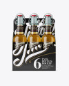 White Paper 6 Pack Clear Bottle Carrier Mockup - Front View