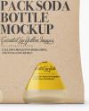 4 Kraft Pack Soda Bottle Mockup - Front View