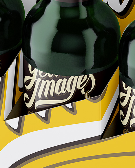 White Paper 6 Pack Green Bottle Carrier Mockup - Halfside View (High Angle)