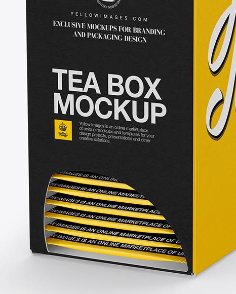 Download Tea Box W Sachets Mockup Halfside View In Box Mockups On Yellow Images Object Mockups PSD Mockup Templates