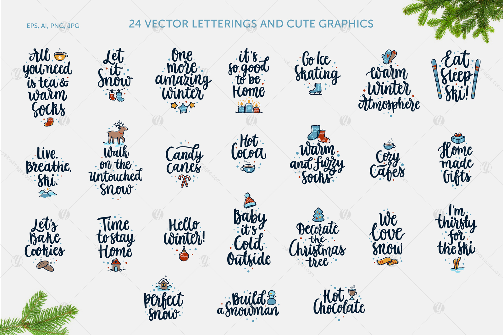 24 Winter Pleasures vector set