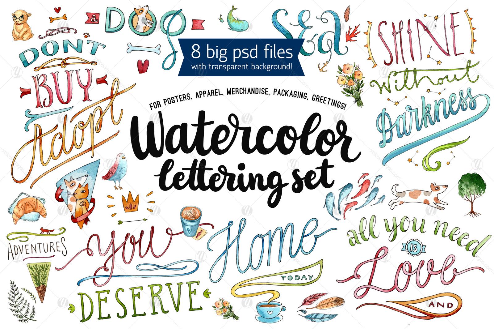 8 Watercolor Lettering Set