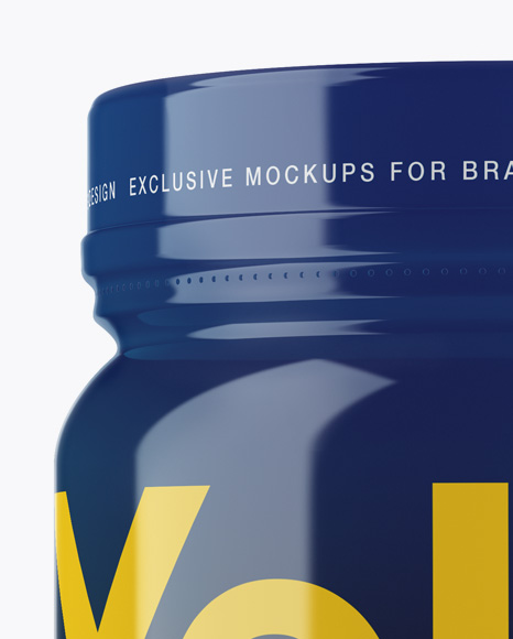 Protein Jar In Glossy Shrink Sleeve Mockup