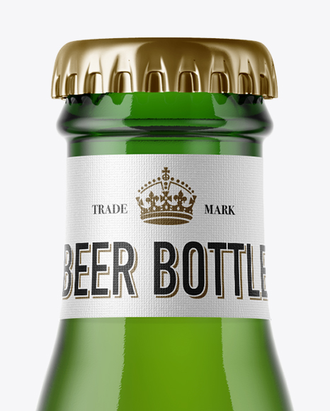 Green Glass Bottle with Lager Beer Mockup