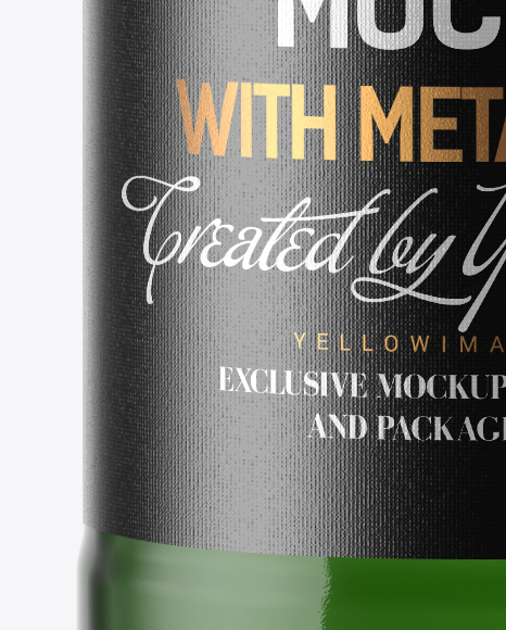 200ml Green Glass Bottle with Drink Mockup