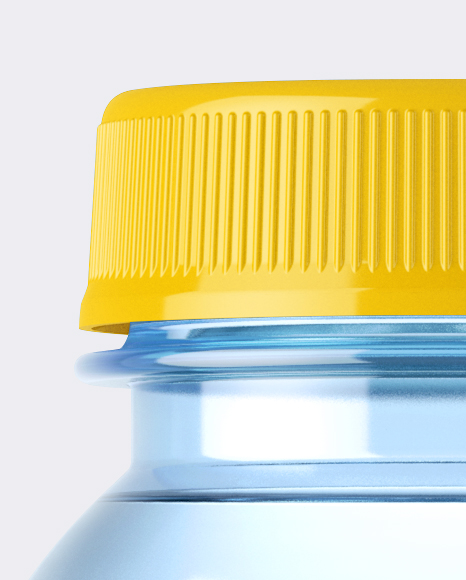 Blue PET Bottle With Water Mockup