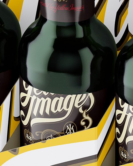 Download White Paper 6 Pack Green Bottle Carrier Mockup Half Side View High Angle Shot In Bottle Mockups On Yellow Images Object Mockups PSD Mockup Templates