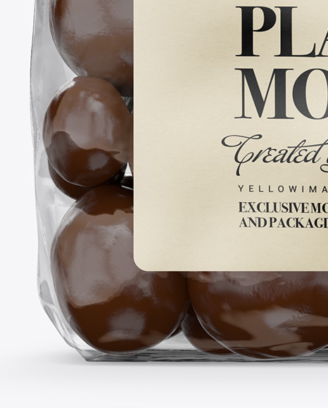 Clear Plastic Bag With Chocolate Dragee Mockup